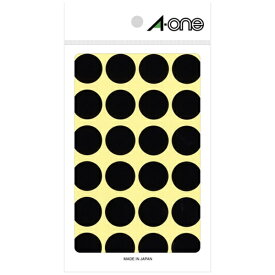 エーワン A-one カラーラベル 黒 07049 [14シート /24面 /光沢]