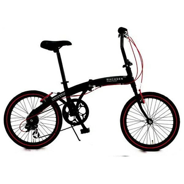 【送料無料】 WACHSEN 20型 折りたたみ自転車 アングリフ(ブラック×レッド/6段変速) BA-100【組立商品につき返品不可】 【代金引換配送不可】