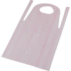トラスコ中山 PE使い捨てエプロン50枚入 サイズフリー ピンク TAPEP