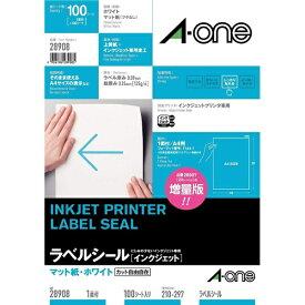 エーワン A-one インクジェットプリンタラベル ホワイト 28908 [A4 /100シート /1面 /マット]【aoneC2009】