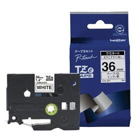 ブラザー brother 【ブラザー純正】ピータッチ ラミネートテープ TZe-261 幅36mm (黒文字/白) TZe TAPE 白 TZe-261 [黒文字 /36mm幅][TZE261]