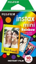 富士フイルム FUJIFILM チェキ インスタントフィルム カラー instax mini Rainbow(レインボー) [10枚 /1パック][チェキ用フィルム]