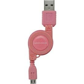 グリーンハウス GREEN HOUSE [micro USB]ケーブル 充電 (リール12〜78cm・ピンク)GH-UCRMB-PK [0.12~0.78m][GHUCRMBPK]
