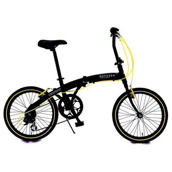 【送料無料】 WACHSEN 20型 折りたたみ自転車 アングリフ(ブラック×イエロー/6段変速) BA-100【組立商品につき返品不可】 【代金引換配送不可】