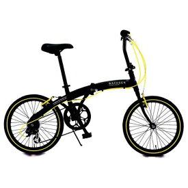 WACHSEN ヴァクセン 20型 折りたたみ自転車 アングリフ(ブラック×イエロー/6段変速) BA-100【組立商品につき返品不可】 【代金引換配送不可】