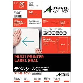 エーワン A-one マルチプリンタラベル ホワイト 28409 [A4 /20シート /1面 /マット]【rb_mmme】