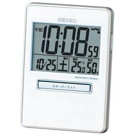 セイコー SEIKO 目覚まし時計 【トラベラ】 白パール SQ699W [デジタル /電波自動受信機能有][SQ699W]
