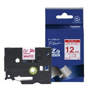 ピータッチ ラミネートテープ 白ラベル TZe-232 [赤文字 12mm×8m]