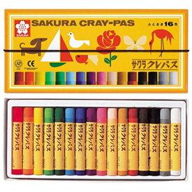 サクラクレパス SAKURA COLOR PRODUCT [クレパス] 太巻16色(ゴムヒモ付)