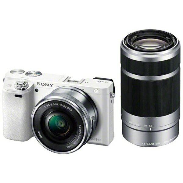 ソニー SONY α6000 ダブルズームレンズキット(ホワイト/ミラーレス一眼カメラ)[ILCE6000YW]