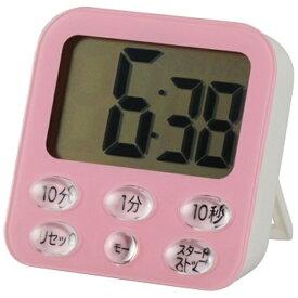 オーム電機 OHM ELECTRIC 時計付き大画面 デジタルタイマー COK-T140-P ピンク[COKT140P]