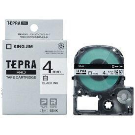 キングジム KING JIM 白ラベルテープ TEPRA(テプラ) PROシリーズ 白 SS4K [黒文字 /4mm幅]
