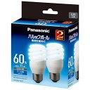 パナソニック EFD15ED11E2T 電球形蛍光灯 「パルックボール」(電球60WタイプD形2個パック・クール色・口金E26) EFD15ED11E2T