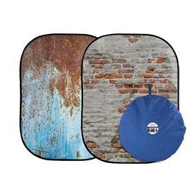 ラストライト アーバン背景 1.5 × 2.1m 錆メタル/しっくい壁 LLLB5713