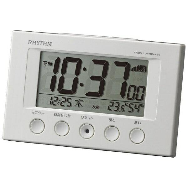 リズム時計 電波目覚まし時計 「フィットウェーブスマート」 8RZ166SR03 (白)[8RZ166SR03]
