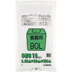 ワタナベ工業 Watanabe Industory 業務用ポリ袋90L 白半透明 M90D (1袋10枚)