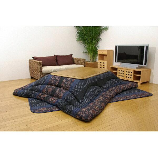 イケヒコ IKEHIKO 5934550 こたつ布団 万葉(マンヨウ) ブルー [対応天板サイズ:約90×135cm /長方形][5934550]