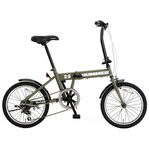 【送料無料】 ハマー 18型 折りたたみ自転車 HUMMER FDB186 IW-II(マットグリーン/6段変速) HMFDB186IW2【組立商品につき返品不可】 【代金引換配送不可】