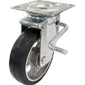 ユーエイキャスター YUEI CASTER 産業用キャスター自在車ストッパー付 150径アルミホイルゴム車輪 PMS150AWLBR