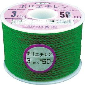 ユタカメイク YUTAKA ユタカ ロープ PEカラーロープボビン巻 4mm×30m グリーン RE−23
