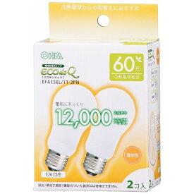 オーム電機 OHM ELECTRIC EFA15EL/11-2PN 電球形蛍光灯 ECOdeQ(エコデンキュウ) ホワイト [E26 /電球色 /2個 /60W相当 /一般電球形 /全方向タイプ][EFA15EL112PN]