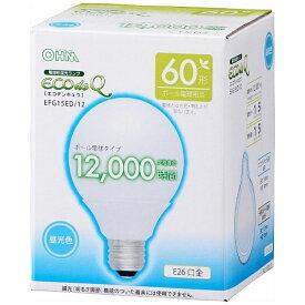 オーム電機 OHM ELECTRIC EFG15ED/12 電球形蛍光灯 ECOdeQ(エコデンキュウ) ホワイト [E26 /昼光色 /1個 /60W相当 /ボール電球形 /全方向タイプ][EFG15ED12]