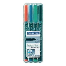 ステッドラー STAEDTLER [油性マーカー] ルモカラーペン 極細書きF(線幅 0.55〜0.6mm) 4色セット 318-WP4
