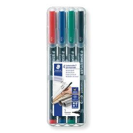 ステッドラー STAEDTLER [油性マーカー] ルモカラーペン 超極細書きS(線幅 0.4〜0.45mm) 4色セット 313-WP4