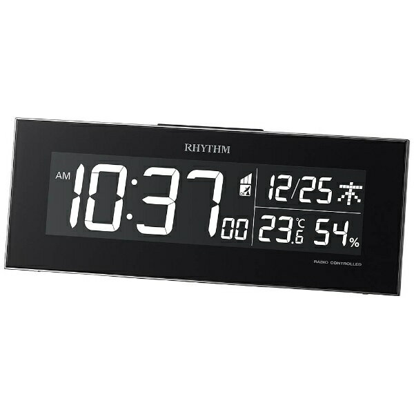 リズム時計 RHYTHM 電波目覚まし時計 「Iroria(イロリア)」 8RZ173SR02 (黒)