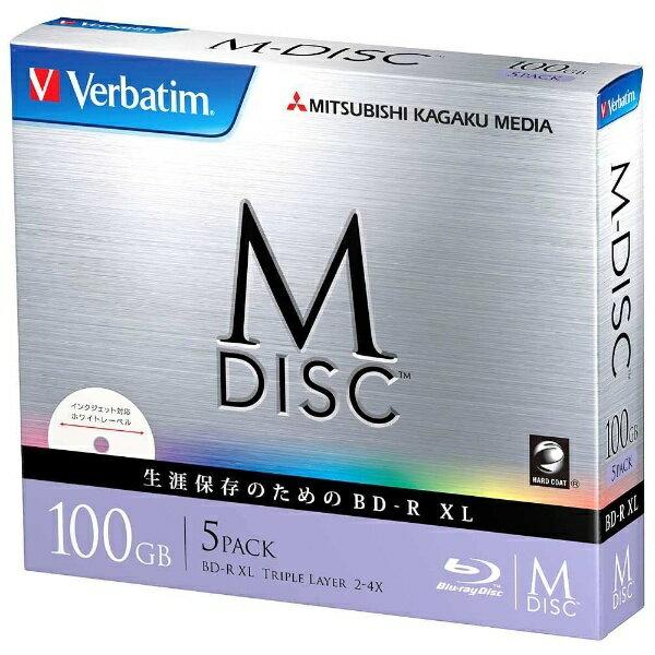 三菱ケミカルメディア MITSUBISHI CHEMICAL MEDIA 2-4倍速対応 データ用Blu-ray BD-R XL [M-DISC] (片面3層・100GB・5枚) DBR100YMDP5V1[DBR100YMDP5V1]