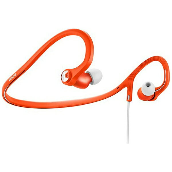 フィリップス [防滴仕様] 耳かけカナル型イヤホン (オレンジ/ホワイト) SHQ4300OR