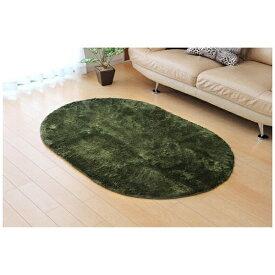 イケヒコ IKEHIKO ラグ シャギー調「ラルジュ」(100×150cm楕円/グリーン)