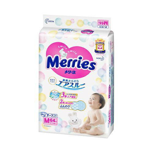 花王 Kao Merries(メリーズ) さらさらエアスルー 【テープ】 Mサイズ(6kg-11kg) 64枚
