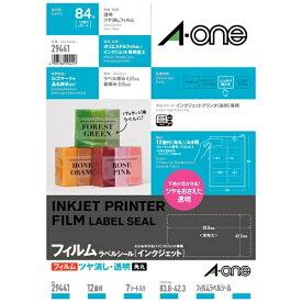 エーワン A-one ラベルシール インクジェット用 透明 29441 [A4 /7シート /12面 /マット]