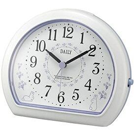 リズム時計 RHYTHM 目覚まし時計 デイリー(DAILY)R550 白(紫) 4SE550DN12 [アナログ]