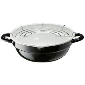 高木金属工業 ≪IH対応≫ ホーロー天ぷら鍋 (24cm) TP-24-BW ブラック/ホワイト[TP24BW]