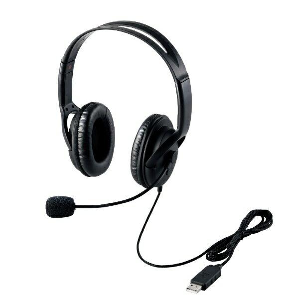 エレコム ELECOM HS-HP28UBK ヘッドセット ブラック [USB /両耳 /ヘッドバンドタイプ][HSHP28UBK]