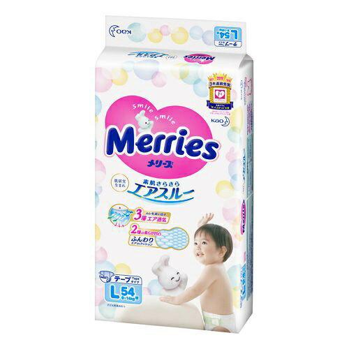 花王 Kao Merries(メリーズ) さらさらエアスルー テープ Lサイズ 54枚