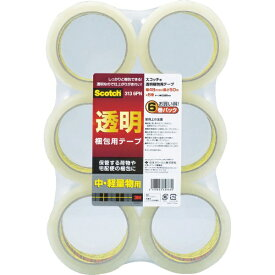 3Mジャパン スリーエムジャパン 3M 透明梱包用テープ 48mmX50m 6巻パック 中・軽量物用 313 6PN