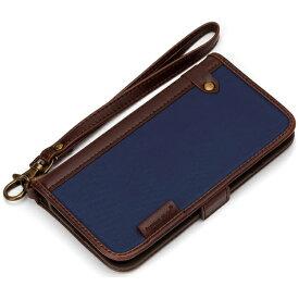 PGA iPhone 7用 手帳型 フリップカバー ナイロン ネイビー PG-16MFP09NV