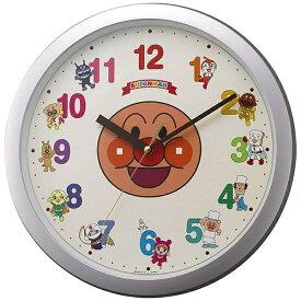 リズム時計 RHYTHM 掛け時計 アンパンマン シルバーメタリック色 4KG713-M19