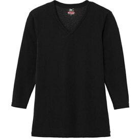 ミズノ mizuno メンズ ブレスサーモエブリプラス・ Vネック長袖シャツ(Lサイズ/ブラック) C2JA664109