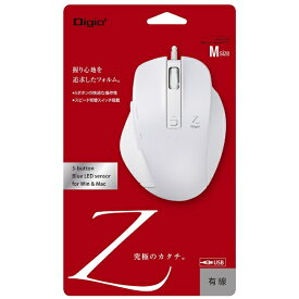 ナカバヤシ Nakabayashi MUS-UKF130W マウス Digio2 Zシリーズ ホワイト [BlueLED /5ボタン /USB /有線][MUSUKF130W]