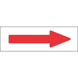 日本緑十字 JAPAN GREEN CROSS 緑十字 配管方向表示ステッカー →赤矢印 60×220mm 10枚組 アルミ 194005
