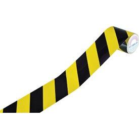 日本緑十字 JAPAN GREEN CROSS 緑十字 ラインテープ(トラテープ・反射) 黄/黒 90mm幅×10m 屋内用 256301