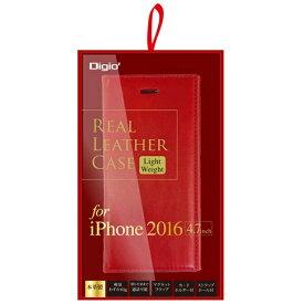 ナカバヤシ Nakabayashi iPhone 7用 手帳型 ケース 本革 軽量 レッド SMC-IP1606R