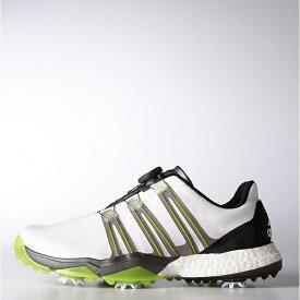アディダス adidas メンズ ゴルフシューズ powerband Boa boost(27.5cm/ホワイト×アイアンメタリック×ソーラースライム) Q44848
