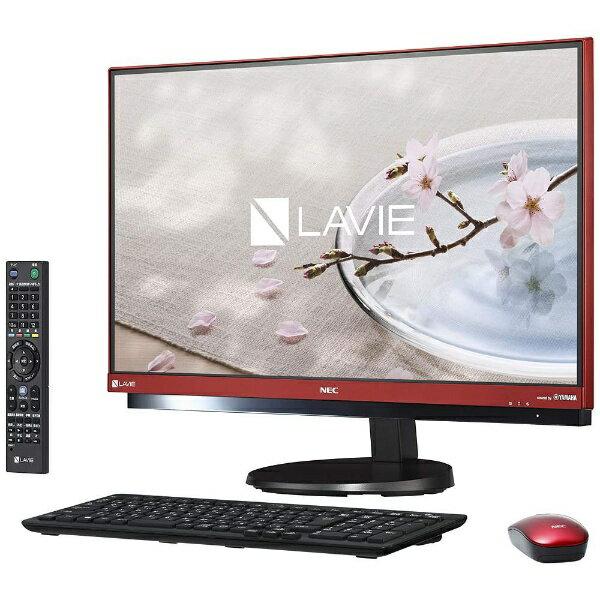 【送料無料】 NEC 23.8型デスクトップPC[Office付き・TVチューナー搭載・Win10 Home・Core i7・HDD 3TB・メモリ 8GB] LAVIE Desk ALL-in-one DA770/GA ラズベリーレッド PC-DA770GAR (2017年春モデル)