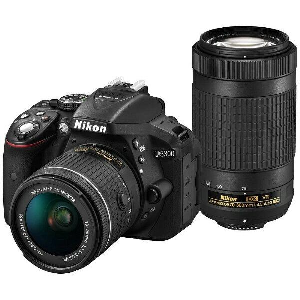 【送料無料】 ニコン D5300【AF-P ダブルズームキット】(ブラック/デジタル一眼レフカメラ)[D5300WZ3]