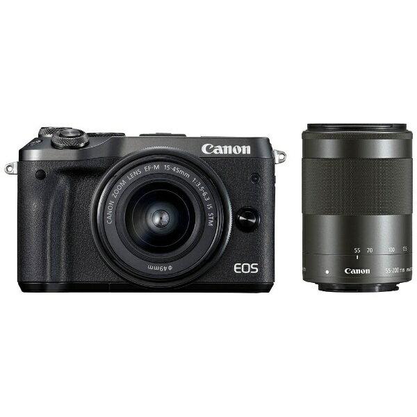 【送料無料】 キヤノン CANON EOS M6【ダブルズームキット】(ブラック/ミラーレス一眼カメラ)